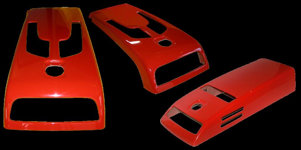 3 Formteile mit Ausschnitt in der Farbe RAL 3000